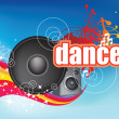 Dance on blue flyer - Stock Photo