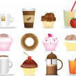 Coffee and cake illustration set - Stock Photo