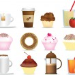 Coffee and cake illustration set — Stock Photo