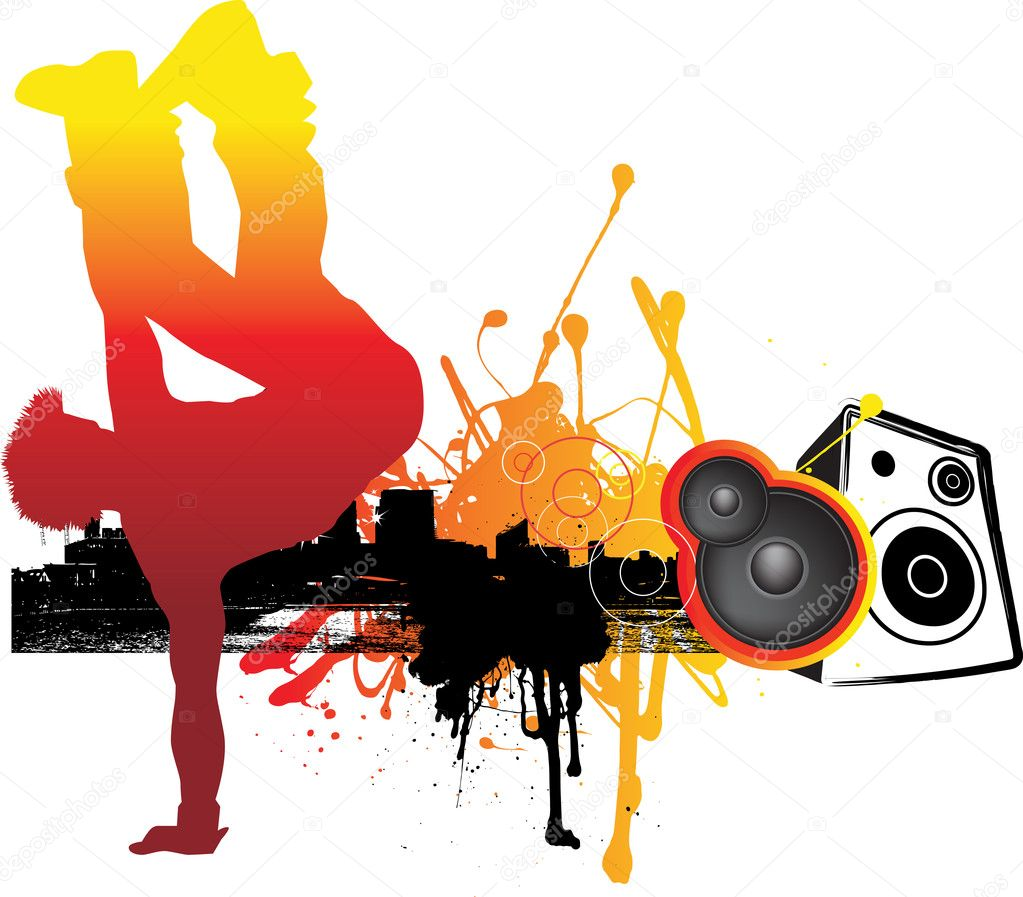 Illustration of urban dancer in city — Stock Photo #2335417