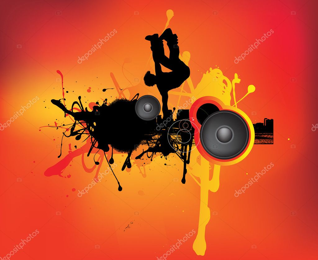 A break dancer in an urban grunge music scene — Stock Photo #2335474