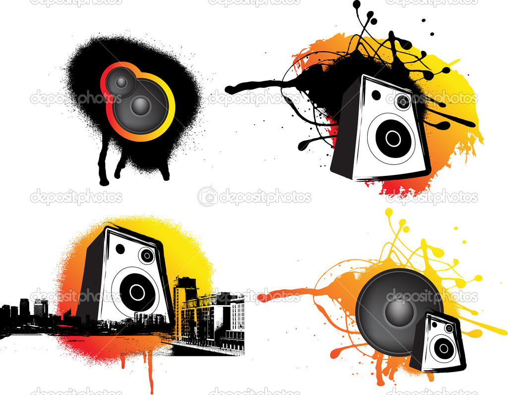 Black and ornage urban music set of 4 graphics — Stock Photo #2335519