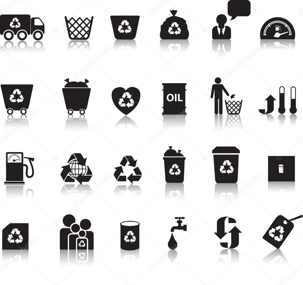 Eco icon set illustrated as black silhouettes with reflection — Stock Photo #2336175