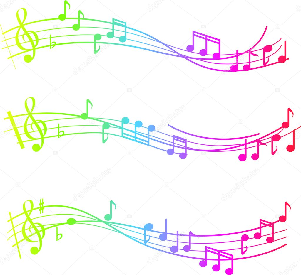 Musical swirl of notes with gradient colours — 图库照片 #2336296