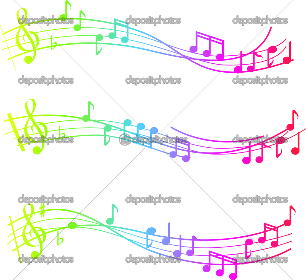 Musical swirl of notes with gradient colours  Foto de Stock   #2336296