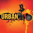Stock Photo: Urban music dance on orange