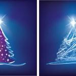 Christmas tree modern illustration in bl — Stock Photo