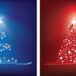 Red and blue christmas tree — Stock Photo
