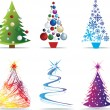 Christmas tree modern illustrations - Stock Photo