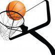 Stock Photo: Basketball hoop and ball