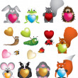 Stock Photo: Cute love heart valentine animals
