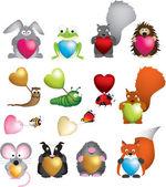 Cute love heart valentine animals — Stock Photo