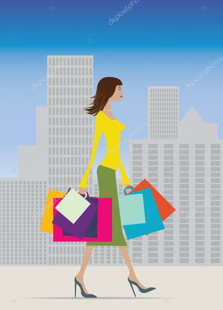 Illustration of a fashionable woman with lots of bags — Stock Photo #2373632