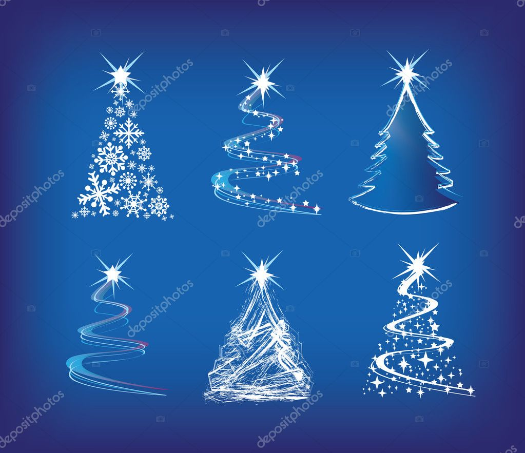 Christmas trees modern illustration in a loose abstract style on blue — Stock Photo #2377609