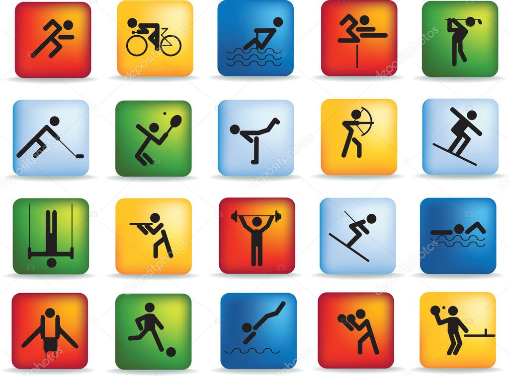 Sports figure icon character set in different positions  Stock Photo #2379134