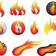 Stock Photo: Flame icon set