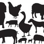 Farm animals sihouette set — Stock Photo #2382697