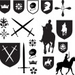 Set of old style medieval icons and symb - Stock Photo