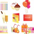 Stock Photo: Birthday icon set