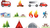 Camping and outdoor icon set — Stock Photo