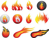 Flame icon set — Stock Photo