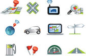 Navigation road travel icon set — Stock Photo