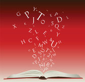 Open book with letters — Stock Photo