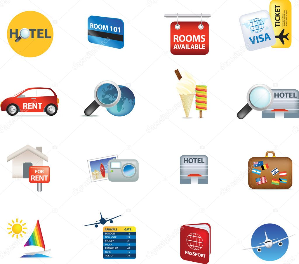Holiday travel and vacation icons illustrations on white — Stock Photo #2380895