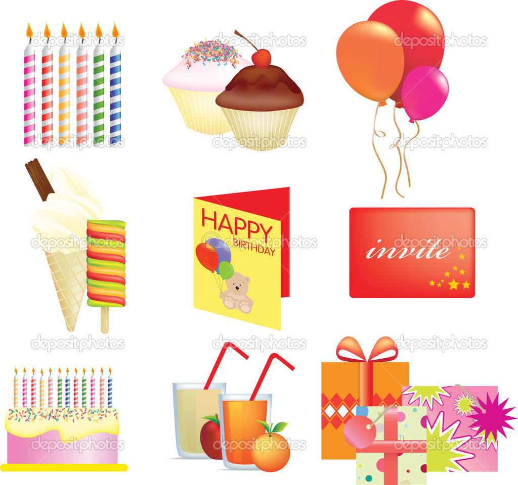 Birthday icon set illustrations on white background  Stock Photo #2386077