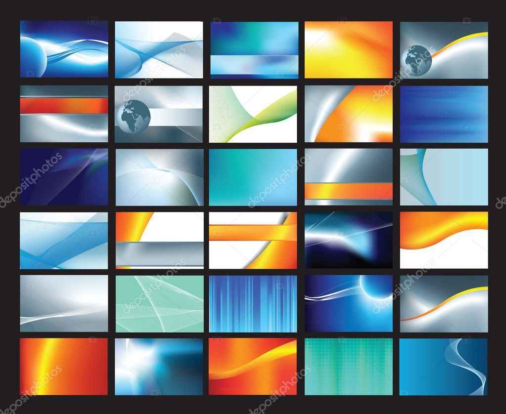 Collection of abstract corporate business cards vector file — Stock Photo #2386463