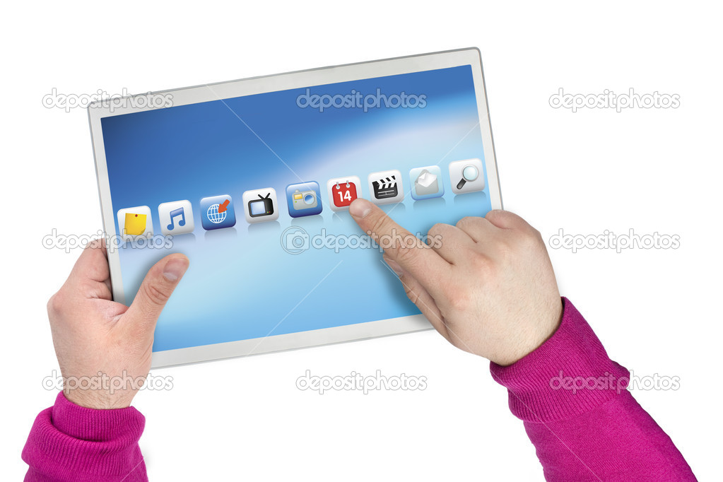 Touch screen computer created from all original photographs and renders to create an original copyright free product. — Stock Photo #2450958