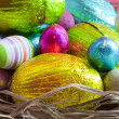 Easter eggs in nest — Foto Stock