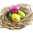 Foto Stock: Easter eggs in nest