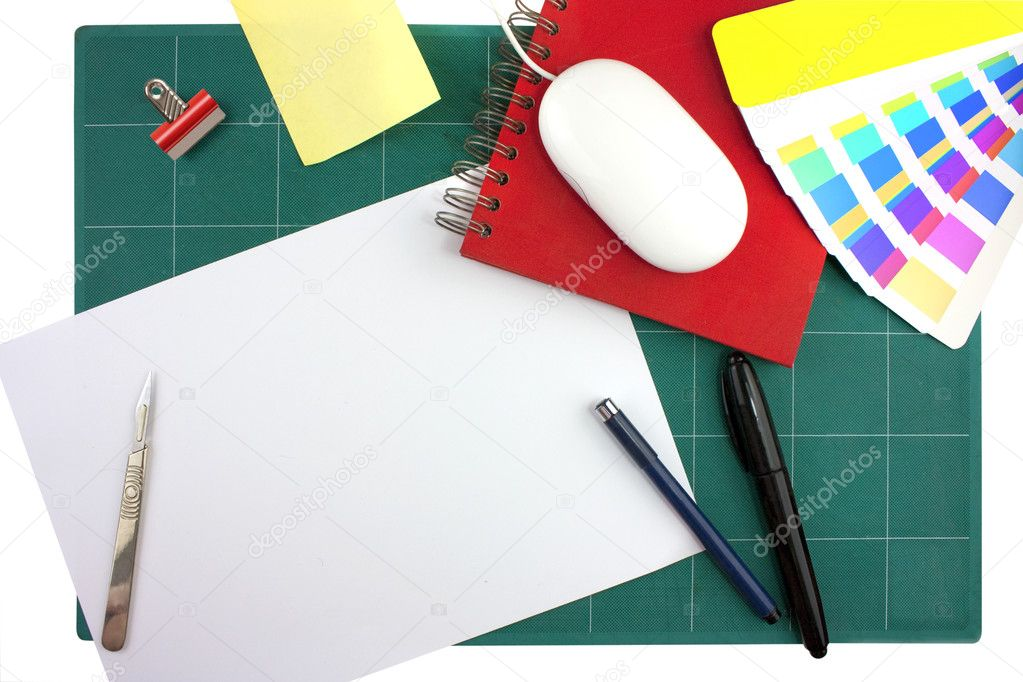 Typical graphic designers toolkit or desk looking down from above — Stock Photo #2611072