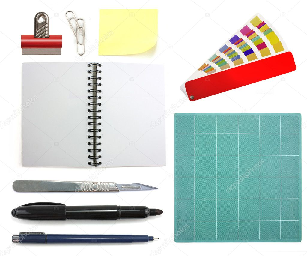 Collection of different graphic design office objects isolated on white background — Stock Photo #2611161