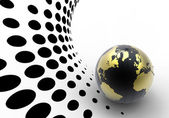 Golden globe on halftone background — Stock Photo