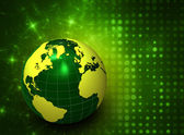 3d green globe on abstract background — Stock Photo