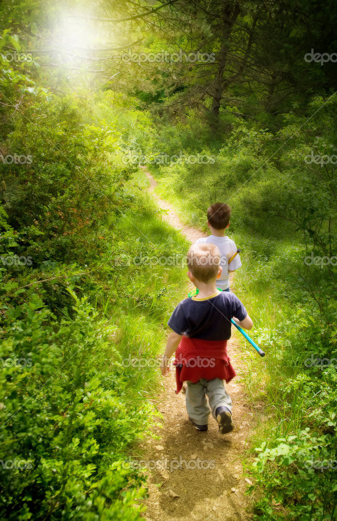 Young children walking in forest — Stok fotoğraf #1992770