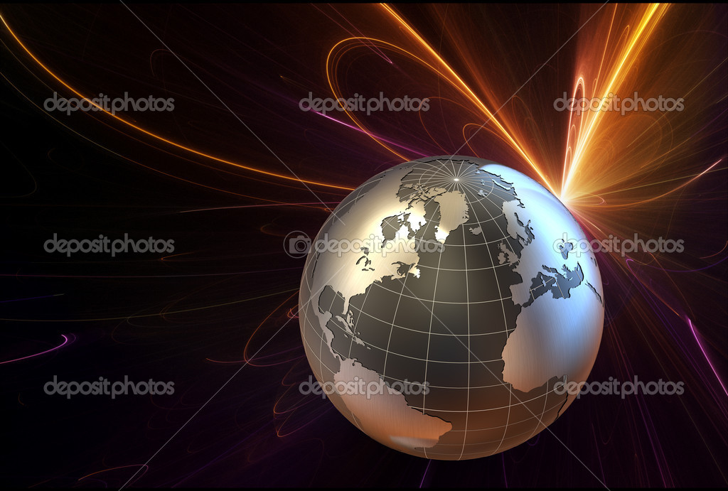 3d earth on a futuristic background — Stock Photo #2000925