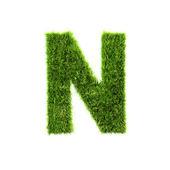 Grass letter - N - Upper case — Stock Photo