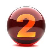 Dígito en una esfera brillante 3d - 2 — Foto de Stock