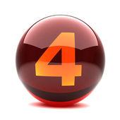 Digit in a 3d glossy sphere - 4 — Stock Photo