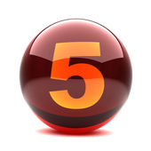 Digit in a 3d glossy sphere - 5 — Stock Photo