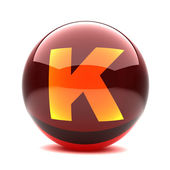 Letter in a 3d glossy sphere - K — Stock Photo