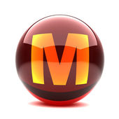 Letter in a 3d glossy sphere - M — Stock Photo