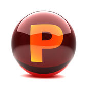 Letter in a 3d glossy sphere - P — Stock Photo