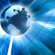 3d earth on futuristic blue background - Stockfoto