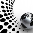 Stock Photo: Silver globe on halftone background