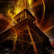 Stock Photo: Eiffel tower on fantasy background