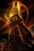 Eiffel tower on fantasy background — Stock Photo